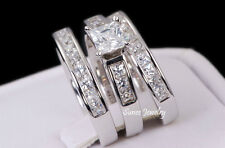 3.0ct Princess Cut CZ Engagement Wedding Ring Set 925 Sterling Silver Size 7.5