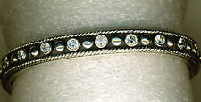 925 Sterling Silver Rope Edge Cubic Zirconia Small Solid Bangle    over 32 grams