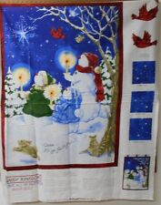 """1 """"Oh Come All Ye Faithful"""" Snowman Christmas Lap Quilt/Wallhanging fabric Panel"""