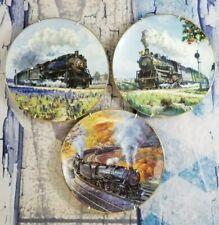 3-Hamilton Collection Railroad Plates - Romance on the Rails, Historic Railway