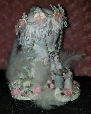 Shabby Chic Pink Christmas Village Victorian Village Hot Air Balloon Pearls Rose