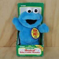 Vintage 1996 Tyco Sesame Street Musical Baby Cookie Monster Plush Soft Toy 25cm