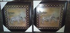 Zebra and Baby Zebra In African Savanna 3 Dimensional Frame Picture Set of Two