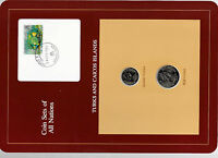 Coin Sets of All Nations Turks & Caicos UNC w/card 1/2 & 1/4 Crown 1981 18APR83