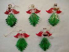 Angel Christmas Ornaments Lampwork Glass Hand Made Blown Spun Set of 5 Estate