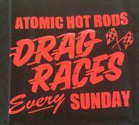 Atomic Hot Rod Drag Shirt Black (Large) Chev Ford Harley Triumph chopper BSA