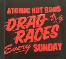 Atomic Hot Rod Drag Shirt Black (Large) Chev Ford Harley Triumph chopper BSA