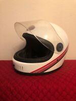Vintage RARE 1990 RANGER Model White Full Faces Motorcycle Helmet  - Shield