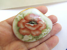 Vintage Hand Painted Poppy Flower Porcelain Brooch Signed Mary Kendell