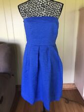 J. Crew Dress Sz 8 Blue Strapless Cocktail Cotton Pleated Dress With Pocket.