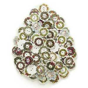 50 Christmas Flower Wood Buttons Sewing Scrapbooking Clothing Home Decor 20mm