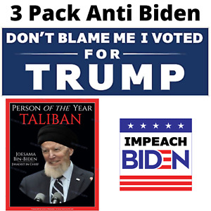 3 Pack Trump   Anti Biden   Sticker Decal 2024 Made In The USA - One Each Trump