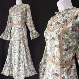LAURA ASHLEY Floral Lace Crochet 70's  Frilled Prairie Maxi Dress  16 42 12