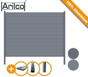 Aluminium Luxuszaun anthrazit inkl. Pfosten Sichtschutz Lamellen-Gartenzaun Set