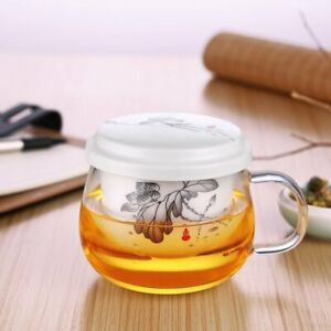 400ml Glass Tea Cup With Ceramic Infuser and Lid, UK Stock Same Day Available!