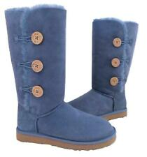 New Ugg Classic Triplet Bailey Button Tall Dolphin Blue Suede Shearling Boots 8
