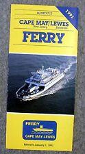 1991 CAPE MAY NEW JERSEY Lewes Delaware FERRY Schedule BROCHURE NJ DE Car