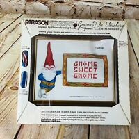 Vintage Paragon Needlecraft Kit Gnome in Stitchery Design DIY Craft /w Frame