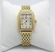 MICHELE Deco Mini Diamond Gold Tone Ladies Watch