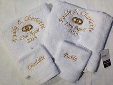 Personalised 4 piece egyptian cotton towel set anniversary wedding 2 bath 2 face