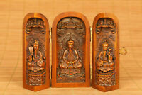 antique chinese old boxwood handmade Buddhism Taoism statue figure netsuke box