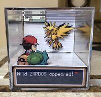 Legendary Pokemon ZAPDOS 3D Cube Handmade Diorama - Shadowbox - FireRed - Fanart