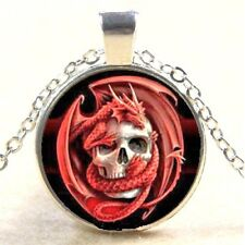 Red Dragon & Skull Glass Cabochon Tibet Silver Pendant  Necklace + Free Gift