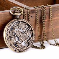 Vintage Steampunk Retro Bronze Pocket Watch Quartz Pendant Necklace Chain Hot