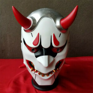 OW Overwatch Genji Skin Oni Mask Halloween Fancy Ball Mask Prop Collection Resin