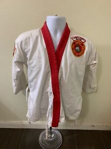 Bold Look White Karate Coat Red Trim Pak's Karate Academy Chest 36