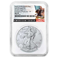 2021 (P) $1 American Silver Eagle NGC MS70 Emergency Production Black ER Label