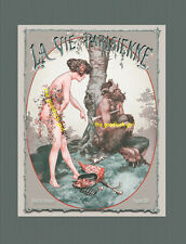 FAUNE WITH NUDE  French Centaur Satyr La Vie Parisienne 8x10 Herouard Art print