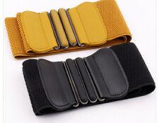 Womens Ladies Faux Leather Wide Stretch Elastic Buckle Cinch Waist Wide Belts