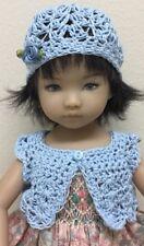 "*Crochet "" Baby Blue"" Sweater/Shrug & Hat~Effner Darling ~ 13"" Dolls"