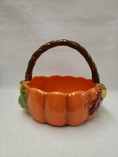 Harvest Pumpkin and Acorns Basket with Handle Candy Dish Ceramic Thanksgiving