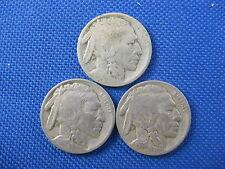 3 PC U.S. BUFFALO NICKEL COIN LOT 1914 1919 1938 D/S