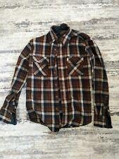Vintage David Harrison Brown Plaid Wool Flannel Shirt Men's Size M