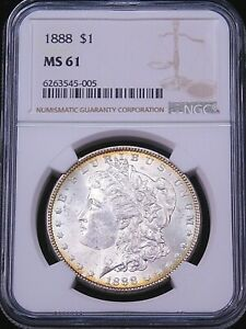 1888 P Morgan Silver Dollar NGC MS61 Frosty White Gold Rims PQ Just Graded #G338