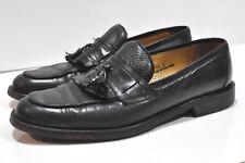 Renzo Morini Mens black tassel leather loafers size 10 made in Italy Vibram