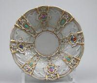 Meissen Prunk Untertasse Streublümchen / Türkis Relief um 1820 1.Wahl