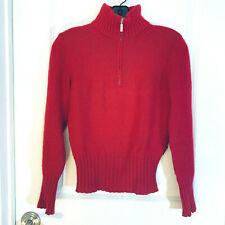 Moncler Red 1/4 Zip Angora Blend Long Sleeve Pullover Turtleneck Sweater Size S