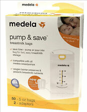 MEDELA PUMP & SAVE 50 ct BREASTMILK FREEZER STORAGE BAGS and with adapters NEW