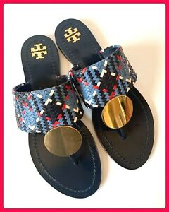 NEW! TORY BURCH PATOS DISK SANDAL BLUE WOVEN LEATHER GOLD DISK SZ 11 STUNNING!