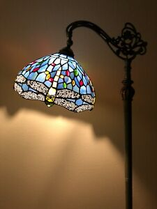 Enjoy Tiffany Style Floor Lamp Dragonfly Sky Blue Stained Glass Vintage H62.5 In