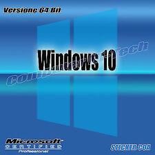 licenza sticker COA Windows 10 Professional 32 64 Bit CON DVD ALLEGATO OFFERTA