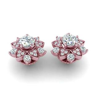 SI1 G 2.30 Ct Round Diamond Solitaire Studs Earrings 14K Rose Gold Prong Set