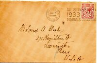 1933 Sg 420 1½d red-brown on cover to USA with British Industries Fair Cancel