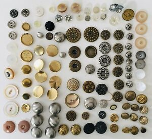 Lot of 111 Vintage Antique Buttons Victorian Art Deco Military Glass Metal & Pin