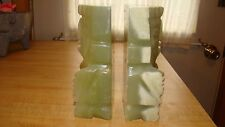 """Vintage Mexican Folk Art Carved Onyx Stone Mayan Bookends Large 7"""""""