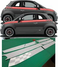 Fiat 500 595 Sport / Abarth Side chequered Stripes Decals Stickers panel fit